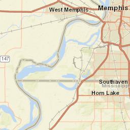 USGS Site Map for USGS 07032305 HORN LAKE CREEK NEAR BARNESVILLE MS